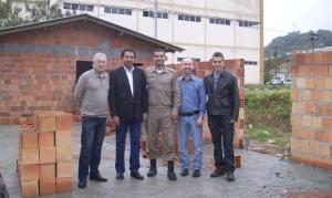 Empresário Oswaldo Casagrande Jr., Presidente CONSEG BC Edilson de Oliveira Ferreira, Maj PM Jefferson Schmidt, Construtor Leandro Ivan Pinto e Eng. Jairo Luiz de Souza