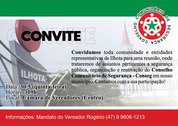 Convite para reativação do Conseg Ilhota no dia 30/05/2019