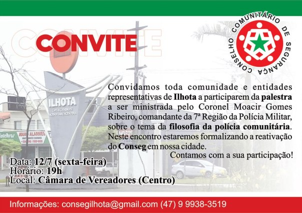 CONVITE REUNIÃO PALESTRA CONSEG 12/07/2019
