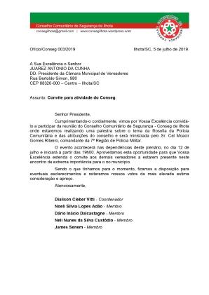 OFÍCIO CONSEG 03-PRESIDÊNCIA DA CÂMARA DE VEREADORES DE ILHOTA