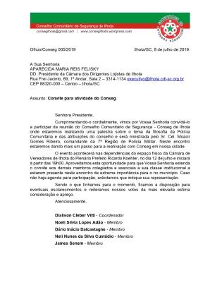 OFÍCIO CONSEG 05-CDL ILHOTA