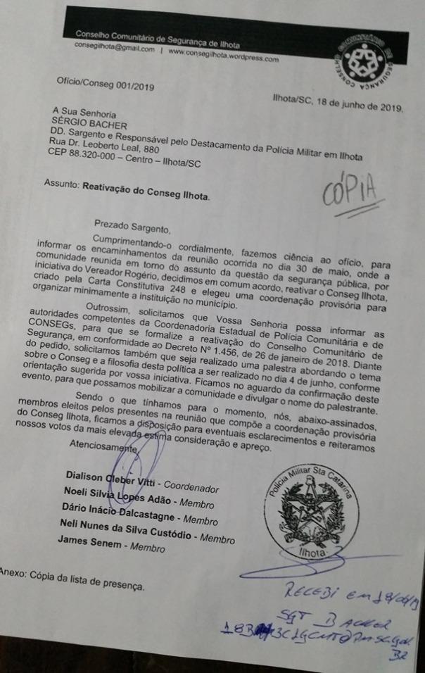 Ofício Conseg Ilhota 001/2019
