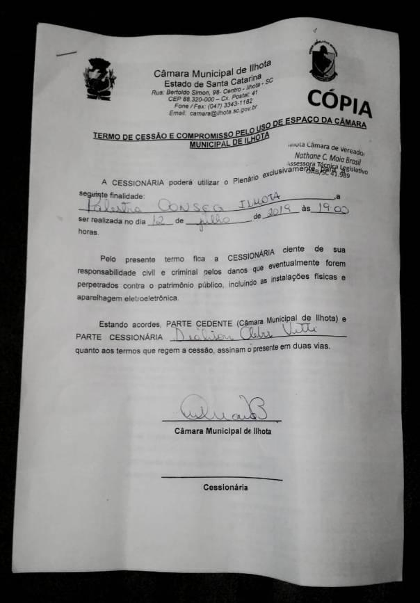 Ofício Conseg Ilhota 002/2019 complemento