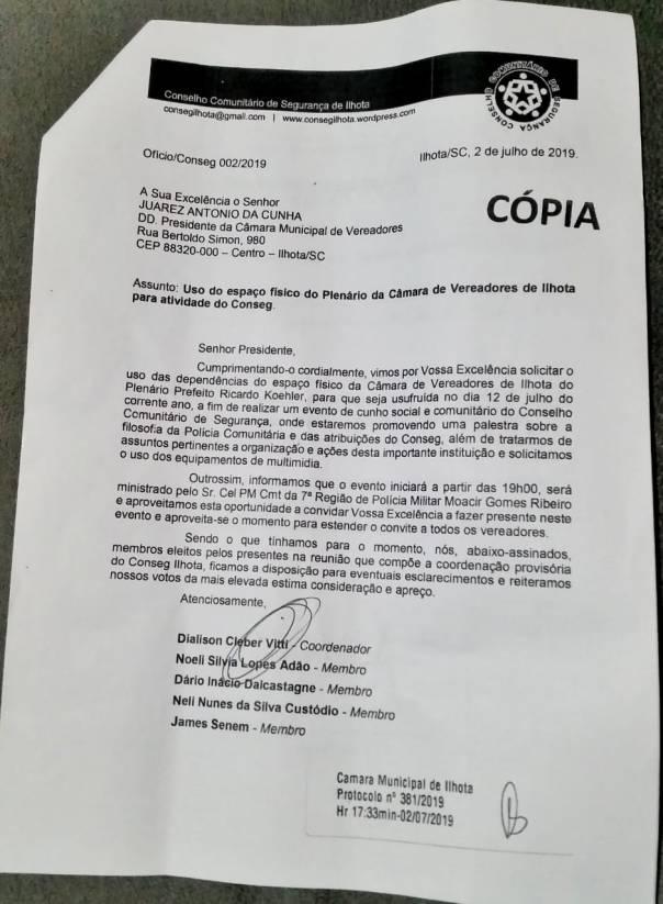 Ofício Conseg Ilhota 002/2019