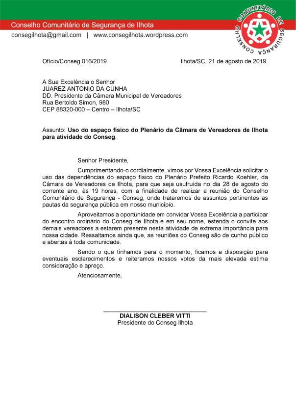 OFÍCIO CONSEG 16-PRESIDÊNCIA DA CÂMARA DE VEREADORES DE ILHOTA
