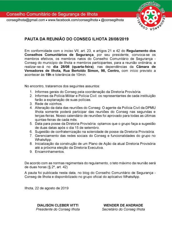 PAUTA DA REUNIÃO CONSEG - 28082019
