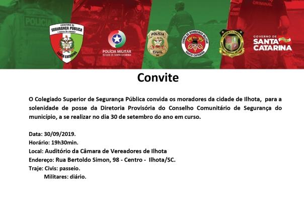 Convite Posse Diretoria Provisória Conseg Ilhota SSPSC