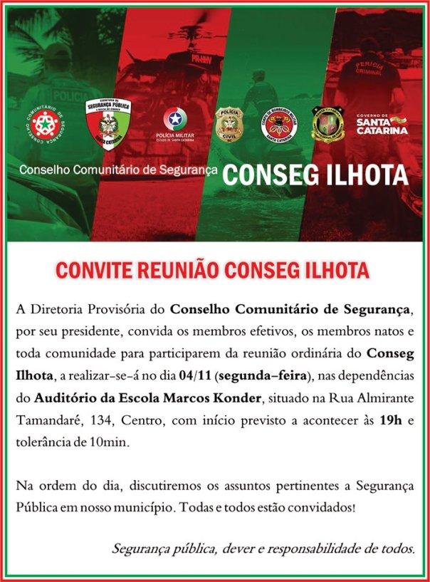 Convite Reunião da Diretoria Provisória Conseg Ilhota 04/11/2019