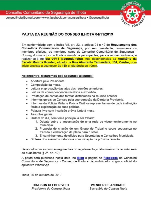 PAUTA DA REUNIÃO CONSEG ILHOTA DO DIA 04/11/2019